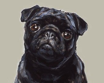 Black Pug Art  print - signed  Ltd. Ed art print - Pug gift, pug lover