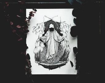 Forest Guardian // Dark Art  // Original Art // Ink Illustration // Occult Art