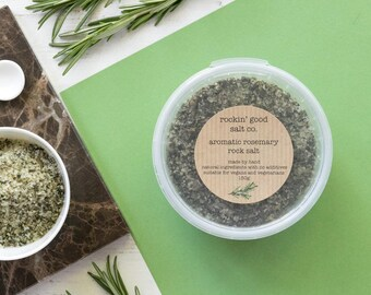 rock salt infused with aromatic rosemary - in a 150g pinch pot