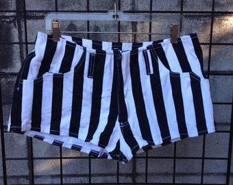 Stripe Denim Shorts Vintage 1990s Hip Hugger Booty Nineties Jean Black and White