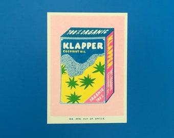 A risograph print of Klapper organic coconut oil