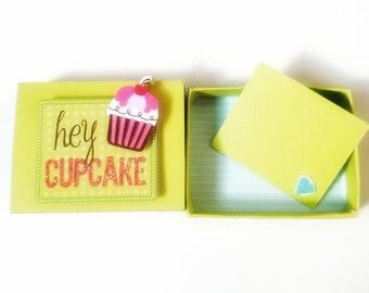 Hey Cupcake Miniature Matchbox Card Message/ Valentine card/ Anniversary/Birthday/Love/ Wedding