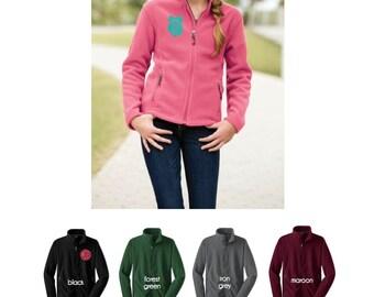 Girls fleece jacket - monogram jacket - full zip fleece jacket - embroidered  jacket - girls