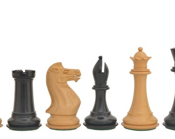 """The Staunton Series Weighted Wooden Chess Pieces in Ebony & Box Wood - 4.0"""" King made in India.SKU: D0125"""