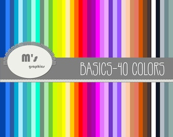 40 Digital Papers. Different colors. Plain. Scrapbook. Decoupage.