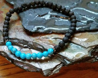 Blue Turquoise 4mm Diffuser Bracelet with Lava Beads