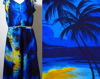 vintage 60s 70s Blue Hawaiian dress tie at shoulders hipster mod rockabelly