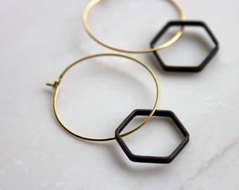 Minimalist Black and Gold Earrings, Modern Hoop Earrings, Hexagon Earrings, Honeycomb earrings, gold earrings, bridesmaid, gift for her