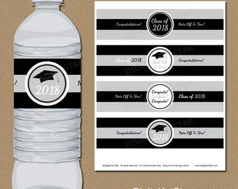 INSTANT DOWNLOAD Graduation Party Decorations 2018, Water Bottle Label Printable High School Graduation, College Graduation Class of 2018 G2