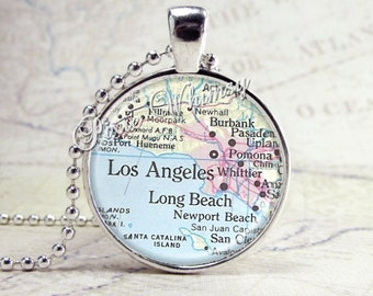 CALIFORNIA Map Pendant Necklace LOS ANGELES Vintage Map Jewelry Glass Bezel Pendant Charm, Antique California Map, Long Beach