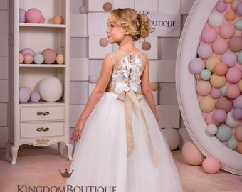 Ivory and Beige Flower Girl Dress - Wedding Party Holiday Birthday Bridesmaid Flower Girl Ivory and Beige Tulle Dress 14-1128
