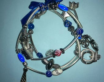 Bracelet 50 shades of Grey, blue and silver