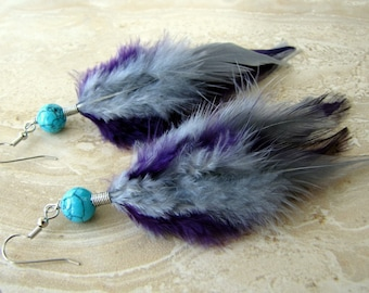 Colorful Feather Earrings - Silver Gray, Purple and Turquoise - Purple Smoke