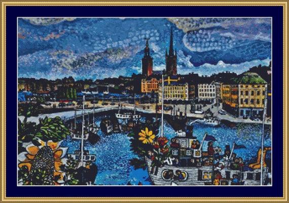 Stockholm Cross Stitch Pattern /Digital PDF Files /Instant downloadable