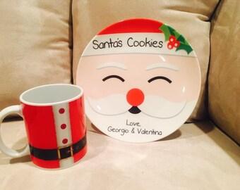 Personalized 8 inch Ceramic Christmas Santa's Cookies Plate with 11 oz Ceramic Santa's belt mug