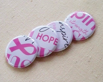 Pink Pride - set of 4 Breast Cancer Awareness themed button magnets