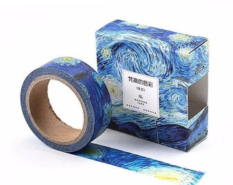 Van Gogh art inspired washi tape Starry sky adhesive tape