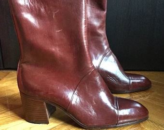 New / boots men vintage brown leather with heel /fabrication Italian Colin/size EU 42 US 9 UK 8