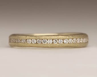9ct Gold Diamond Eternity Ring, Ethical Diamond Ring, Australian Diamond Eternity Ring, Rustic Diamond Ring, Channel Set Unique Wedding Ring