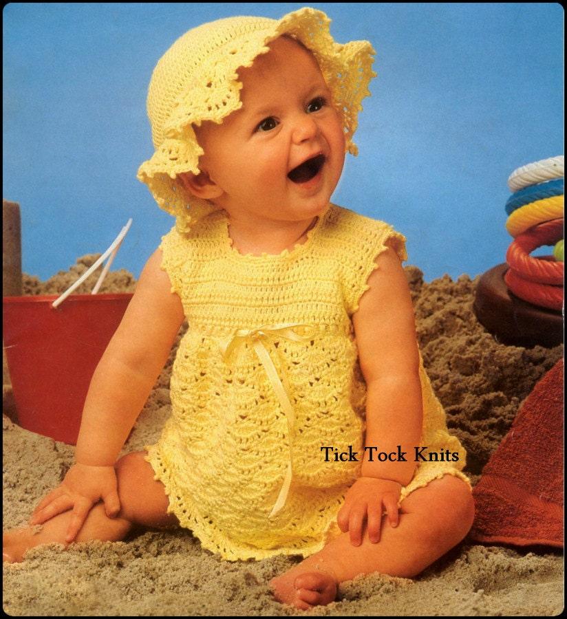 No343 Baby Crochet Pattern Pdf Vintage Girls Dress Sun Hat