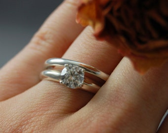 Clara- Cubic Zirconia wedding set, Cubic Zirconia wedding ring, cubic zirconia engagement set, conflict free gemstone ring, eco diamond ring