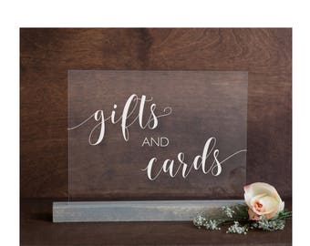 Gifts and Cards Acrylic Sign | Gifts and Cards Sign | Lucite Gifts and Cards Sign | Wedding Signs | Acrylic Wedding Signs | Cards Sign -AS-4