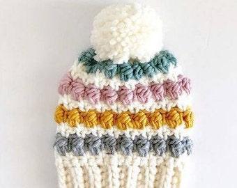 Crochet Even Berry Stitch Baby Hat Pattern