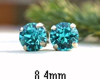 8.4mm, Blue Zircon Earrings, Xirius Crystal Stud Earrings, Rhinestone Studs, Birthstone Earrings, December