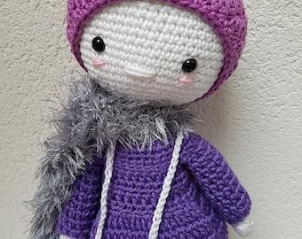 Snowflake lady purple, crochet doll, crochet cuddle