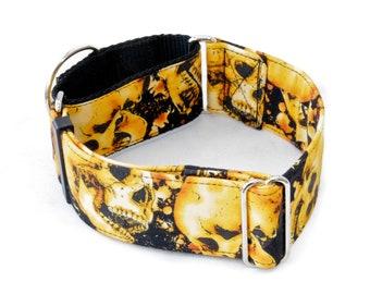 "Fiery Skulls Dog Collar 1.5"" - 2"" Widths - Caninus Collars"
