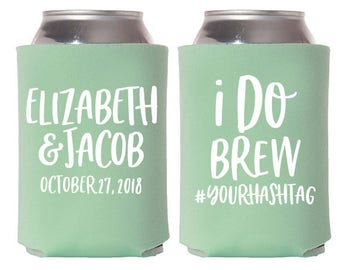 Custom Wedding Favor - I Do Brew Can Coolers