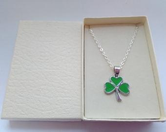 Irish Shamrock Pendant Necklace on Silver Plated Chain St Patrick's Day, Paddys Day Children Adults Irish Jewellery