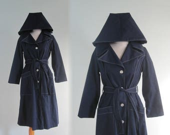 70s Navy Trench - Vintage Blue Trench Coat with Detachable Hood - Classic 70s Hooded Raincoat - Vintage 1970s Trench Coat L