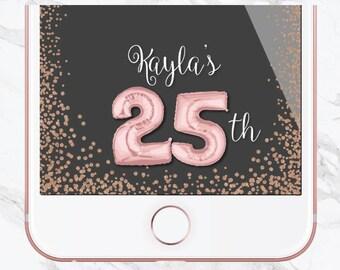 Birthday Snapchat Filter, Birthday Filter, Geofilter, Customized Birthday, Snapchat Geofilter, Sweet 16, Number Balloons, Pink, Glitter