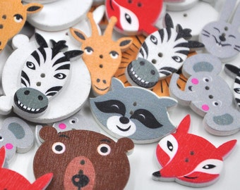 Painted Wooden Animal Buttons - Craft, Sewing, Scrapbooking Embellishment, Cute, Baby Shower, Birthday