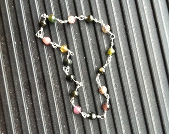 Multicolored Tourmaline Bracelet Silver Wire-Wrapped