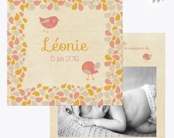 Faire-part naissance Fille Oiseaux et Pétales Rose et Jaune, faire part naissance original vintage, faire part vintage, faire-part naissance