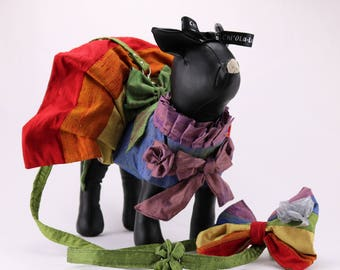 Dog dress clothes harness with leash pride flag