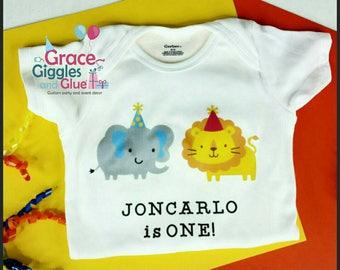 Personalized Safari Themed Baby Bodysuit