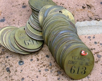 Vintage Brass Number Tags Brass Numbered Tag Locker Tag Tags Steampunk Jewelry DIY Jewelry