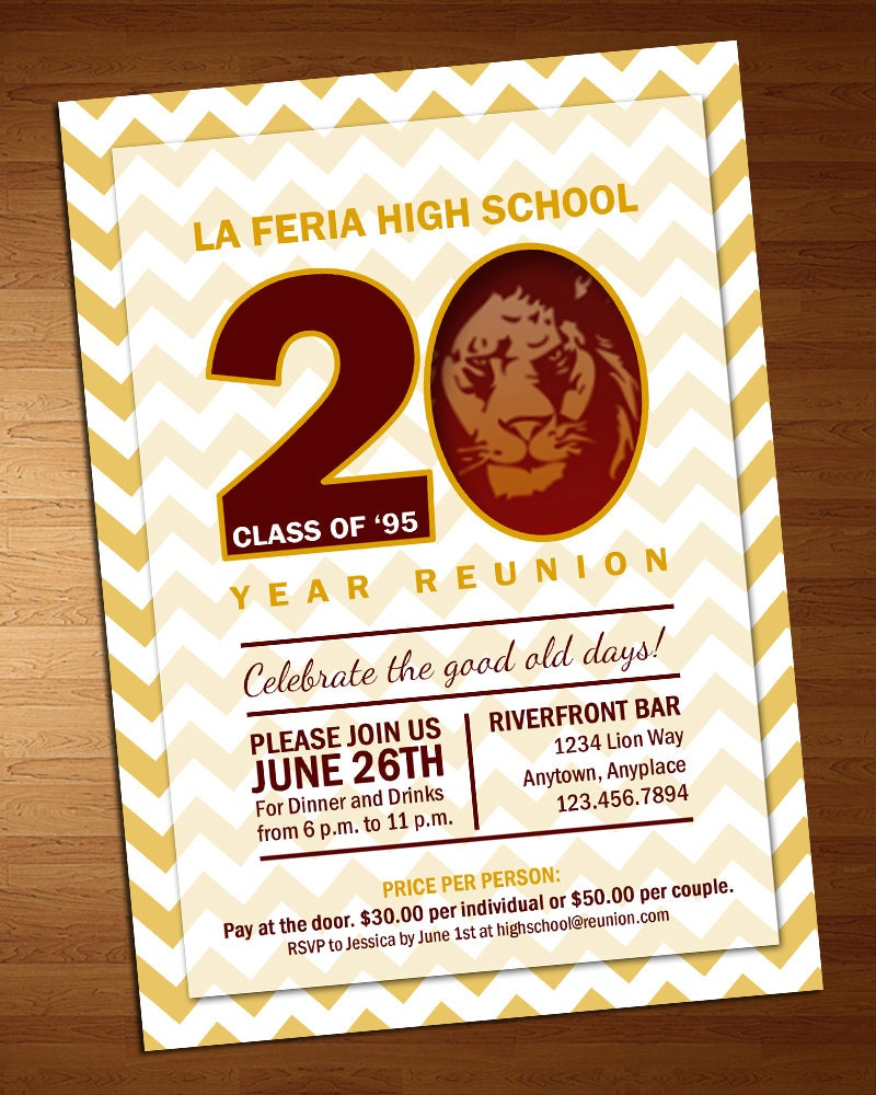 Chevron Class Reunion Invitation High School Reunion