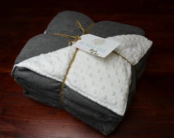 Weighted Blanket for Adults - Twin Size - Classic Gray Herringbone and Luxurious Complementing Minky (40x85 inches) - Adult Weighted Blanket