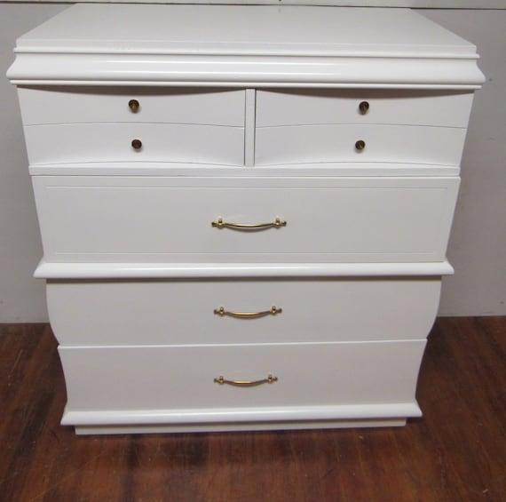 White dresser by Dixie mid century modern