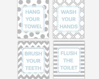 Kids Bath Wall Art Bathroom Rules Wash Brush Hang Flush Prints for Kids Bathroom Children Bath Art Baby Nursery Prints Kids Decor Children