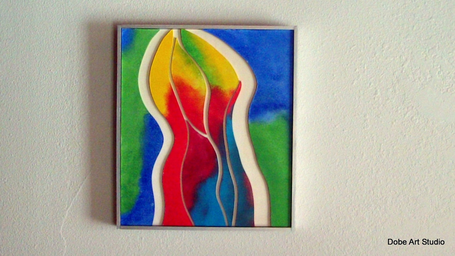 Blue And Green Wall Art Red Abstract Painting Bright Wall
