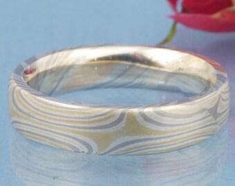 Rose Gold Yellow Gold Silver Palladium // Mokume Gane Damenring // 18 ct, 750 gold, 925 silver, 950 Palladium