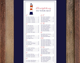Lighthouse Seating Chart, Digital, Nautical, Table Assignment, Coastal Wedding, Ocean Event, print yourself - sm, md, large 150-300 guests