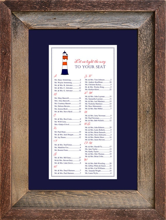 Lighthouse Seating Chart Digital Nautical Table Assignment