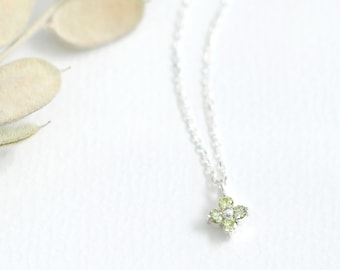 Peridot  Flower Necklace 925 Sterling Silver August Birthstone Tiny Flower Pendant