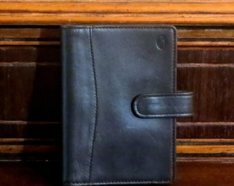 Dads Grads Sale Hartmann Black Belting Leather Note Pad Plannner Organizer With Flap Over Snap Closure- EUC